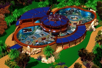 AQUARIUM IN JEDDAH BEACH PALACE OF  A.M. ALSHEIKH AERIAL VIEW FROM THE NW