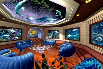 AQUARIUM IN JEDDAH BEACH PALACE OF  A.M. ALSHEIKH SECOND HALL INTERIOR
